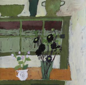 Black Dahlias and Potato Plant